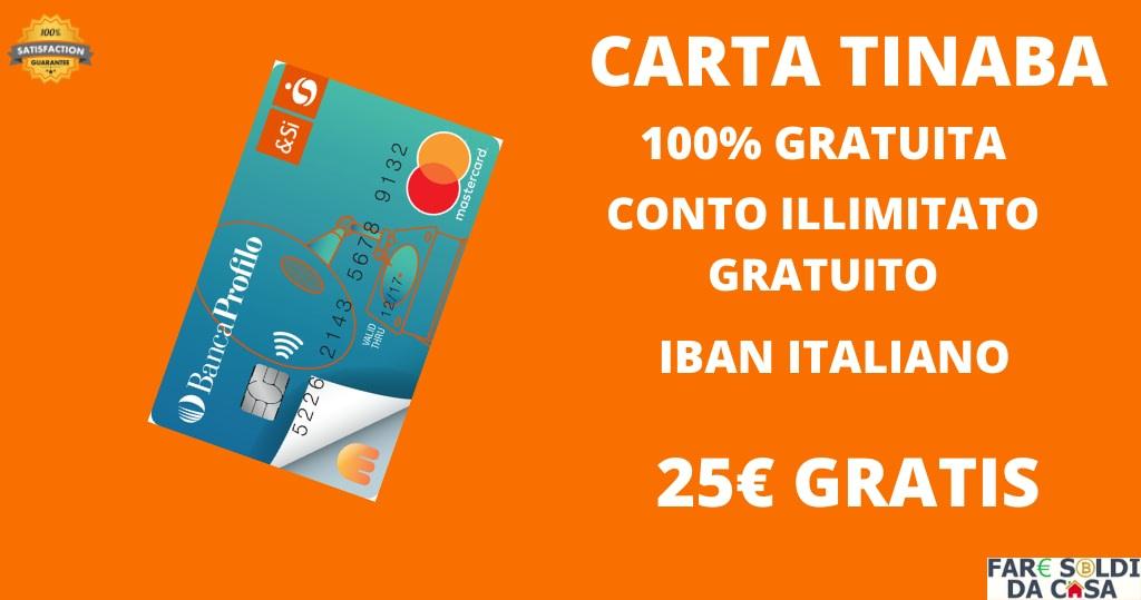 tinaba carta con bonus in euro